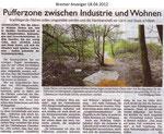 """Pufferzone zwischen Industrie und Wohnen """"Bremer Anzeiger 18.04.2012"""""""