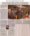 "Innensenator hält an Revierreform fest ""Weser Kurier 19.11.2012"""