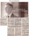 """""""Wir glauben an heilende Gerechtigkeit"""" Weser Kurier 08.05.2013"""