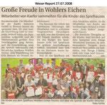 "Große Freude in Wohlers Eichen ""Weser Report 27.07.2008"""