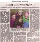 """Jung und engagiert """"Bremer Anzeiger 24.03.2013"""""""