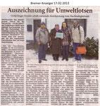 """Auszeichnung für Umweltlotsen """"Bremer Anzeiger 17.02.2013"""""""