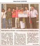 """Real-Spende an Kinder- und Familienzentrum Wohlers Eichen """"Weser Kurier 15.08.2010"""""""