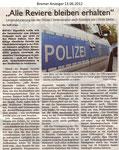 """""""Alle Reviere bleiben erhalten"""" """"Bremer Anzeiger 13.06.2012"""""""