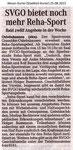 """SVGO bietet noch mehr Reha-Sport"" Weser Kurier 25.08.2013"