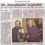 """Die """"Teamplayerin"""" ist gewählt """"Weser Report 10.03.2013"""""""