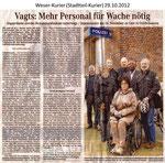 """Vagts: Mehr Personal für Wache nötig """"Weser Kurier 29.10.2012"""""""