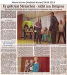 """Es geht um Menschen - nicht um Religion """"Weser Kurier 28.04.2013"""""""