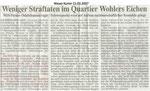 """Weniger Straftaten im Quartier Wohlers Eichen """"Weser Kurier 15.03.2007"""""""