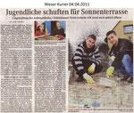 """Jugendliche schuften für Sommerterrasse """"Weser Kurier 04.04.2011"""""""