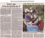"""Ärger um ""Windkraftfläche F"""" Weser Kurier 30.03.2014"