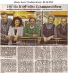 """""""Für ein friedvolles Zusammenleben"""" Weser Kurier 17.11.2013"""