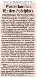 """Wasserbereich für den Spielplatz """"Weser Kurier 10.01.2013"""""""