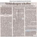 """""""Verbindungen schaffen"""" Weser Kurier 03.04.2014"""