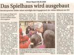 """Das Spielhaus wird ausgebaut """"Weser Report 06.09.2009"""""""