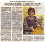 """Gröpelingen kennt sie schon recht gut"" Weser Kurier 03.04.2014"