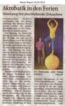 """Akrobatik in den Ferien """"Weser Report 10.03.2013"""""""