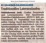 """Traditionelles Laternenlaufen"" Weser Kurier 15.09.2013"