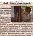 """Schnell geklaut und kaum ermittelt """"Bremer Anzeiger 14.11.2012"""""""