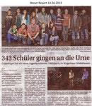 """343 Schüler gingen an die Urne """"Weser Report 14.04.2013"""""""