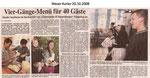 """Vier-Gänge-Menü für 40 Gäste """"Weser Kurier 20.10.2008"""""""