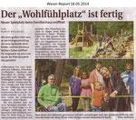 """""""Der """"Wohlfühlplatz"""" ist fertig"""" Weser Report 18.05.2014"""