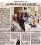 """Umwelt im Blick - ganz praxisnah """"Weser Kurier 18.08.2011"""""""