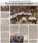 """""""Beirat will alle Angebote erhalten"""" Weser Kurier 02.03.2014"""