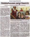 """Oslebshausen zeigt Gesicht """"Bremer Anzeiger 06.06.2010"""""""