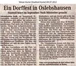 """Ein Dorffest in Oslebshausen """"Weser Kurier 09.07.2012"""""""