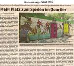 """Mehr Platz zum Spielen im Quartier """"Bremer Anzeiger 30.08.2009"""""""