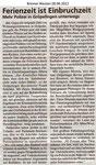 """Ferienzeit ist Einbruchzeit """"Bremer Westen 28.06.2012"""""""