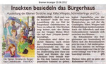 """Insekten besiedeln das Bürgerhaus """"Bremer Anzeiger 20.06.2012"""""""