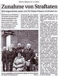 """Zunahme von Straftaten """"Weser Report 11.11.2012"""""""