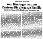 """Vom Kindergarten zum Zentrum für die ganze Familie """"Weser Kurier 28.08.2008"""""""