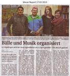 """Bälle und Musik organisiert """"Weser Report 17.02.2013"""""""