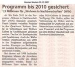"""Programm bis 2010 gesichert """"Bremer Westen 20.12.2007"""""""