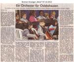 """Ein Orchester für Oslebshausen """"Bremer Anzeiger 07.10.2012"""""""