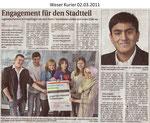 """Engagement für den Stadtteil """"Weser Kurier 02.03.2011"""""""