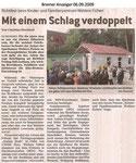 """Mit einem Schlag verdoppelt """"Bremer Anzeiger 06.09.2009"""""""