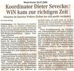 """Koordinator Dieter Sevecke: WiN kam zur richtigen Zeit """"Weser Kurier 16.07.2009"""""""
