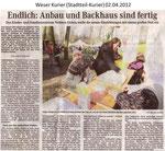 """Endlich: Anbau und Backhaus sind fertig """"Weser Kurier 02.04.2012"""""""