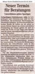 """""""Neuer Termin für Beratungen""""Weser Kurier 02.02.2014"""
