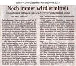 """""""Noch immer wird ermittelt"""" Weser Kurier 30.03.2014"""