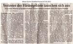 """Vertreter der Fördergebiete tauschen sich aus """"Weser Kurier 07.05.2012"""""""