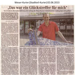 """""""Das war ein Glückstreffer für mich"""" Weser Kurier 02.06.2013"""