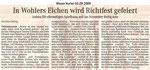 """In Wohlers Eichen wird Richtfest gefeiert """"Weser Kurier 03.09.2009"""""""