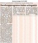 """Handlungsprogramm bisher erfolgreich """"Bremer Anzeiger 15.07.2009"""""""