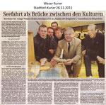 """Seefahrt als Brücke zwischen den Kulturen """"Weser Kurier 28.11.2011"""""""