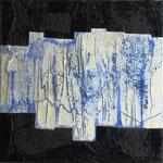 """""""blaue fäden"""" 6o/6o cm mixed media auf leinwand"""